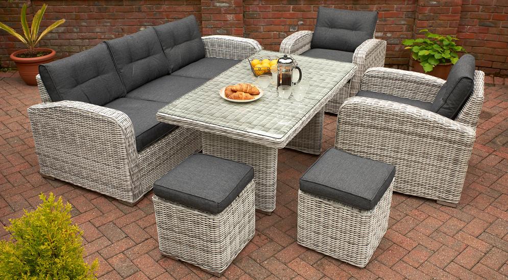 Glendale Chadbury 6PC Grey Rattan Sofa Set