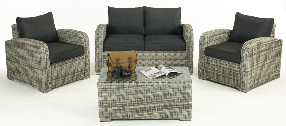 Glendale Henbrook 4PC Grey Rattan Sofa Set