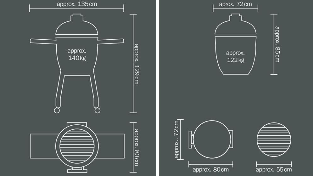 Monolith LeChef Ceramic Grill Dimensions