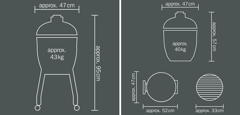 Monolith Junior Ceramic Grill Dimensions