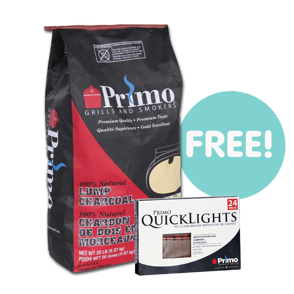 FREE 9kg Bag of Primo Lump Charcoal + Pack 24 Quicklight Fire Lighters worth £40 when you purchase this grill