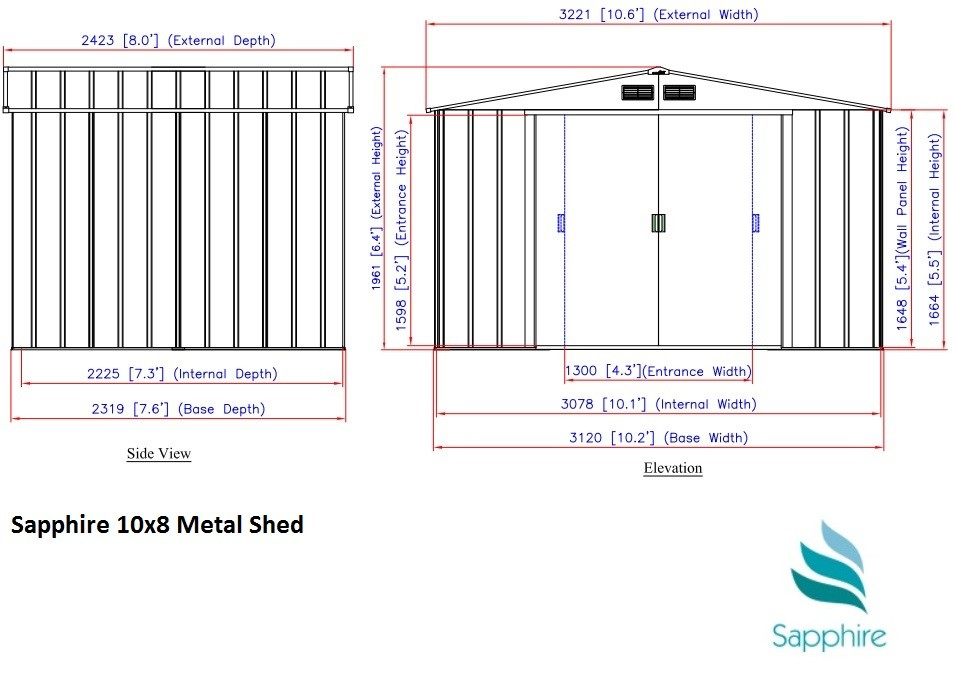 Sapphire 10x8 Metal Shed Dimensions