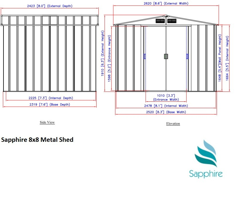 Sapphire 8x8 Metal Shed Dimensions