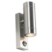 Brushed Steel Outdoor Dual PIR Wall Light (40-017)
