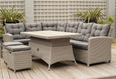 Barbados Relaxed Corner Dining Set With Height Adjustable Table Stone Grey (18-256-STG)