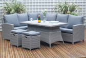 Barbados Relaxed Corner Dining Set With Height Adjustable Table Slate Grey (18-256-SG)