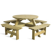 King 8 Seater Round Picnic Table