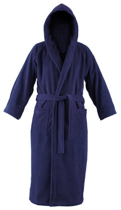 Navy blue hooded bathrobe
