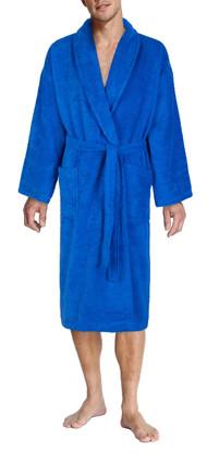 blue bathrobe