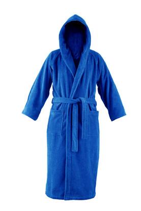 blue hooded bathrobe