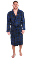 Men's Warm Fleece Dressing Gown - Highland Blue Tartan