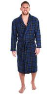 Men's Warm Fleece Dressing Gown - Highland Blue Tartan