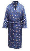 Men's Stylish Pure Silk Dressing Gown, Navy with Pheasant Print