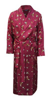 Men's Stylish Pure Silk Dressing Gown, Wine with Pheasant Print