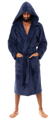 Navy hooded fleece dressing gown by John Christian