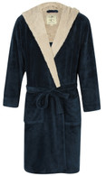 Men's Cosy Hooded Fleece Dressing Gown – Blue Marl / Light Grey