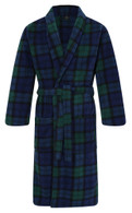 Men's Warm Fleece Dressing Gown - Blackwatch Tartan