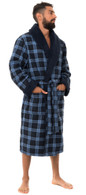 Men's Warm Bonded Cotton and Fleece Dressing Gown - Blue Check