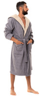 Men's Warm Bonded Fleece Dressing Gown - Grey / Tan