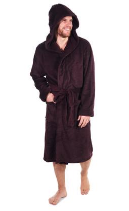 Wine marl hooded fleece robe