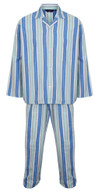 Men's Cotton Flannelette Pyjamas, Drawstring Waist, Classic Blue Stripe