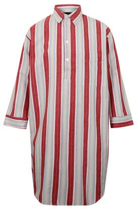 Somax Cotton Flannel Nightshirt, Red Stripe