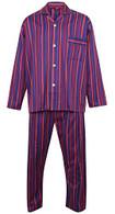 Men's Purple Striped Pyjamas, 100% Cotton, Elasticated Waist