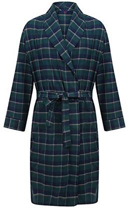 Green and navy check robe