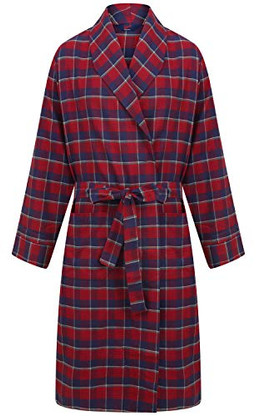 Red and navy check robe