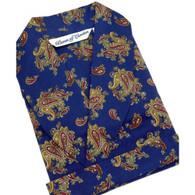 Men's Lightweight Cotton Dressing Gown, Blue Paisley