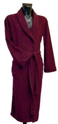 Burgundy fleece bathrobe by Lloyd Attree & Smith