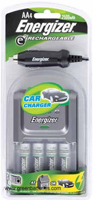 Energizer charger for AA & AAA Rechargeable batteries with car and home adapter & 4 AA batteries