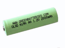 Greenbatteries Brand Ultra Low Self Discharge AA NiMH 2000mAh rechargeable battery