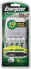 Energizer e2 15 Minute Charger for AA & AAA batteries & 4 - 2200mAh AA batteries