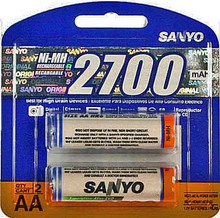 Sanyo 2700 mAh AA NiMH Batteries - pack of two