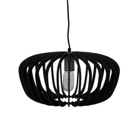 Contemporary 40cm Timber Pendant Light - Black