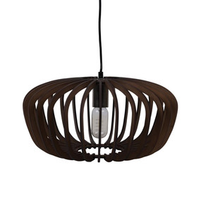 Contemporary 40cm Timber Pendant Light - Brown