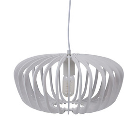 Contemporary 40cm Timber Pendant Light - White