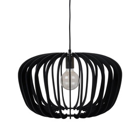 Contemporary 50cm Timber Pendant Light - Black
