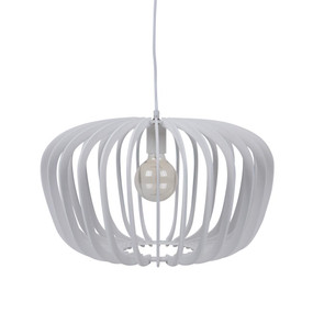 Contemporary 50cm Timber Pendant Light - White