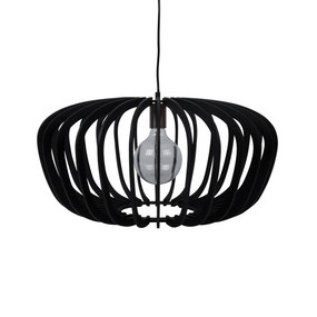 Contemporary 60cm Timber Pendant Light - Black
