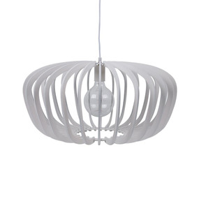 Contemporary 60cm Timber Pendant Light - White