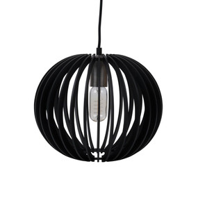 Contemporary 30cm Timber 1.5m Pendant Light - Black