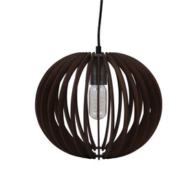 Contemporary 30cm Timber 1.5m Pendant Light - Brown