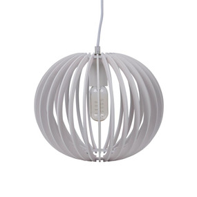 Contemporary 30cm Timber 1.5m Pendant Light - White