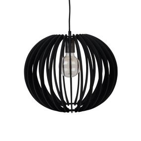 Contemporary 40cm Timber 1.5m Pendant Light - Black