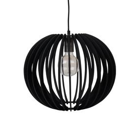 Contemporary 40cm Timber 1.5m Pendant Light - Black