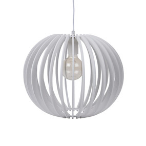 Contemporary 40cm Timber 1.5m Pendant Light - White