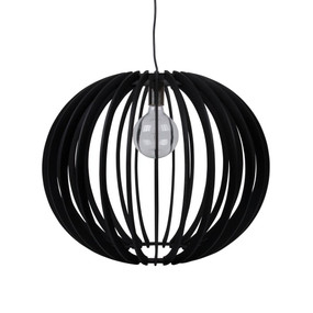 Contemporary 60cm Timber 1.5m Pendant Light - Black