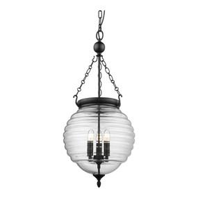 Rustic Round Lantern Pendant Light - Black with Clear Glass